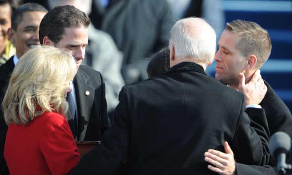Joe Biden is greeted by his wife Jill and sons Beau, right, and Hunter, second left, following his inauguration as vice-president in 2009.