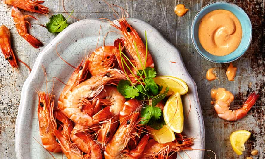 Yotam Ottolenghi's steamed prawns with slow-roast tomato mayonnaise.