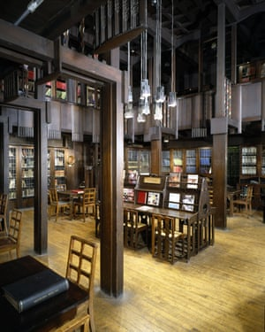 Hallowed space … the sublime Glasgow School of Art library, destroyed by fire in 2014 and now being restored.