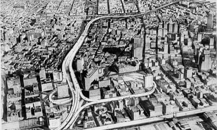 An artist's sketch from 1959 of the proposed Lower Manhattan Expressway, a 10-lane highway through SoHo and Little Italy that required the demolition of 416 buildings.