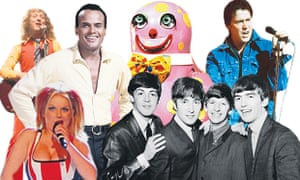 Clockwise from top right: Slade, Harry Belafonte, Mr Blobby, Shakin' Stevens, the Beatles and the Spice Girls.