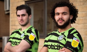 Forest Green Rovers players show off their new kit.