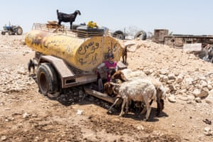 An old water tanker, once used to bring water to the Bedouin communities