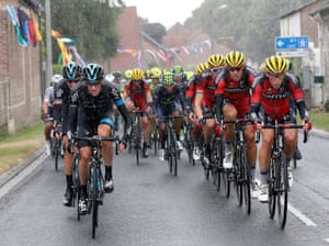 <strong>Stage Five</strong><br>Stage Location: Arras and Amiens, France<br>Stage winner: André Greipel<br>Sky's Wouter Poels leads the peloton through the rain