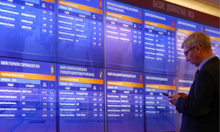 A screen shows preliminary results at the Russian election commission's information centre.
