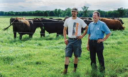 Minnesota grass-fed beef producer Duane Munsterteige (right) adopted a number of water-protecting practices on his farm after his son, Tony (left), became ill with a type of respiratory infection that may be associated with nitrate contamination.
