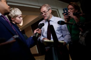 Republican congressman Jim Jordan, a loyal ally of Donald Trump, speaks to reporters after witnesses defied a subpoena to appear before House impeachment investigators in Washington on 4 November.