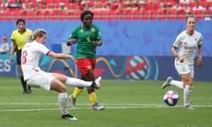 Ellen White puts England 2-0 up against Cameroon – although celebrations were put on hold until the outcome of a VAR review.