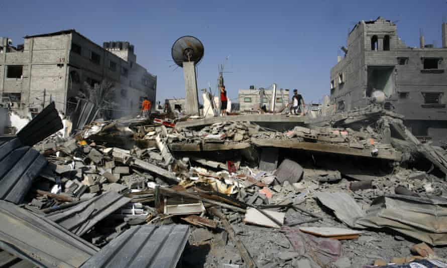 The remains of a house which was hit in an Israeli airstrike on Rafah in August 2014.