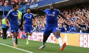Kurt Zouma celebrates scoring for Chelsea against Arsenal.