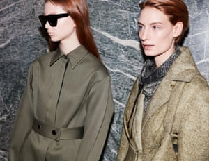 Emphasised shoulders and drawn-in waists create the silhouette.