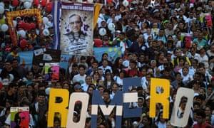 Crowds in the Salvadoran capital, San Salvador, celebrate Óscar Romero's canonisation.