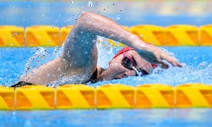 Tully Kearney on her way to winning the Women's S5 100 metre freestyle final with a new world record time of 1:14.39.
