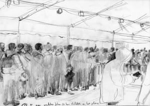 Queuing in the registration tent, 2016, by Toby Morison