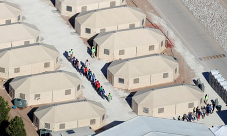 Tents on a detention centre in Texas next to the Mexican border.