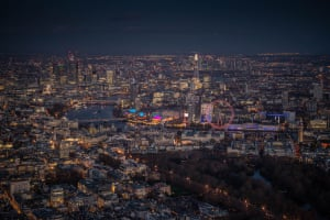 The London skyline, featuring the Eye and the river Thames and the SouthBank centre