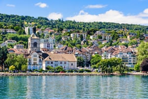 The French spa town of Évian-les-Bains on Lake Geneva waterfront of Evian town