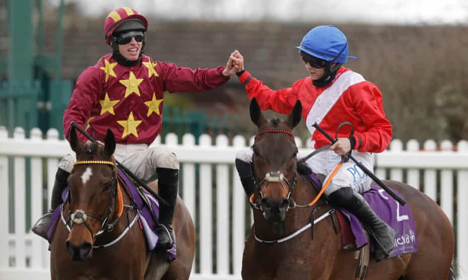 Jack Kennedy (left) is congratulated on winning the Gold Cup at Minella Indo by Rachael Blackmore, who was second at A Plus Tard.