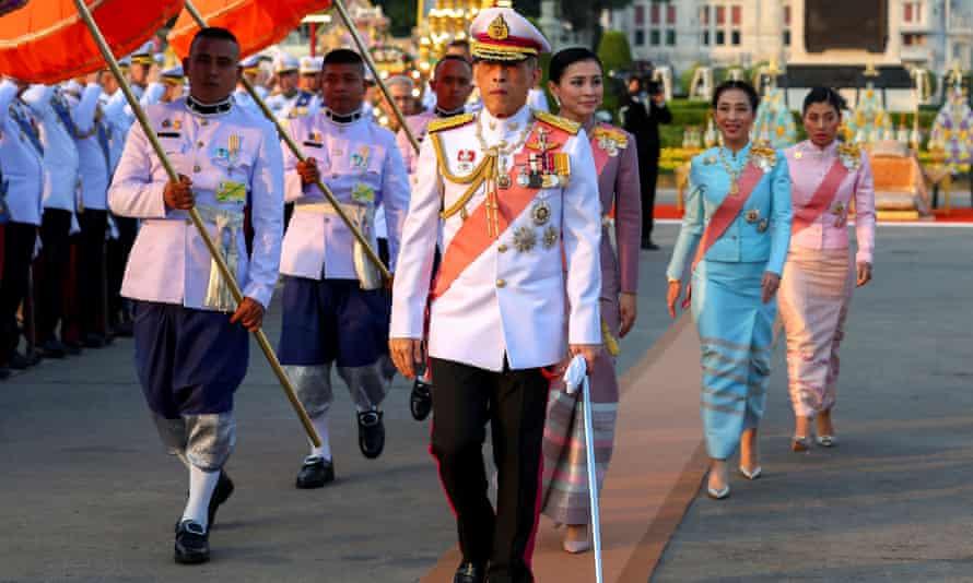 Thailand's King Maha Vajiralongkorn, Queen Suthida, Princess Bajrakitiyabha and Princess Sirivannavari Nariratan attend an official event on23 October.