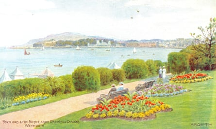 View in to the past: a postcard of Portland, Dorset, by the artist AR Quinton.