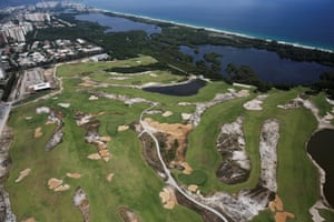 An aerial view shows the 2016 Rio Olympics golf venue.