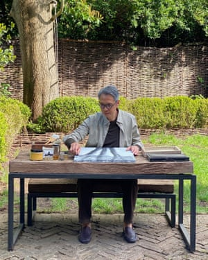 Early bird: Spencer Fung in his north London garden.