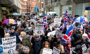 A protest against antisemitism at Labour HQ, London, in March.