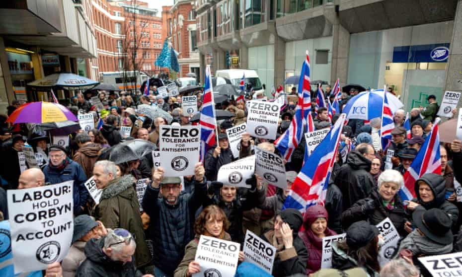 Jewish protesters and supporters at the Labour party headquarters in April 2018.
