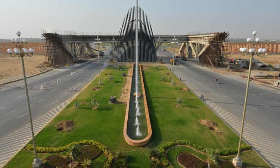 The impressive gated approach to Bahria Town Karachi.