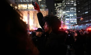 Demonstrators protest against increased New York Police Department presence on the subway system in Manhattan