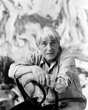 Willem De Kooning in his studio in Long Island, New York, in 1987.