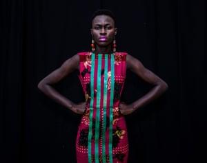 Sachakara Dieng wears a creation by Adama Ndiaye in Dakar, July 2012