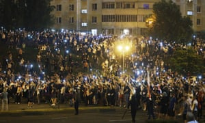 Protesters in Minsk on Sunday evening.