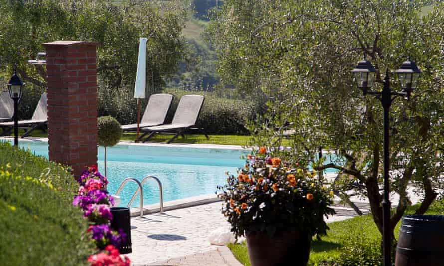 The pool and surrounds at Borgo Tre Rose hotel