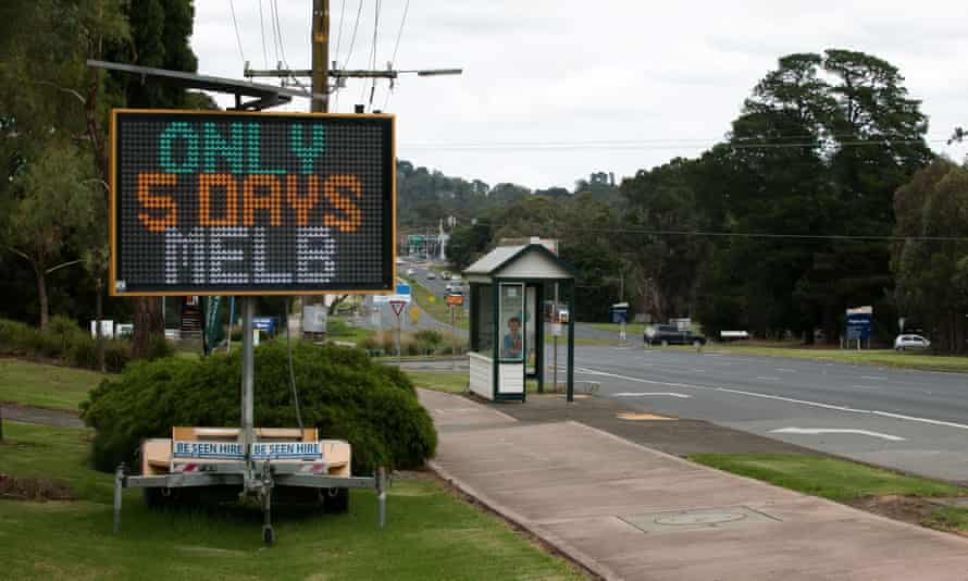 AA digital road sign counts the days left in Victoria's lockdown