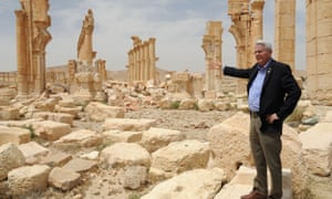 A handout picture released by the official Syrian Arab News Agency (SANA) shows Dick Black visiting the Syrian heritage site of Palmyra.