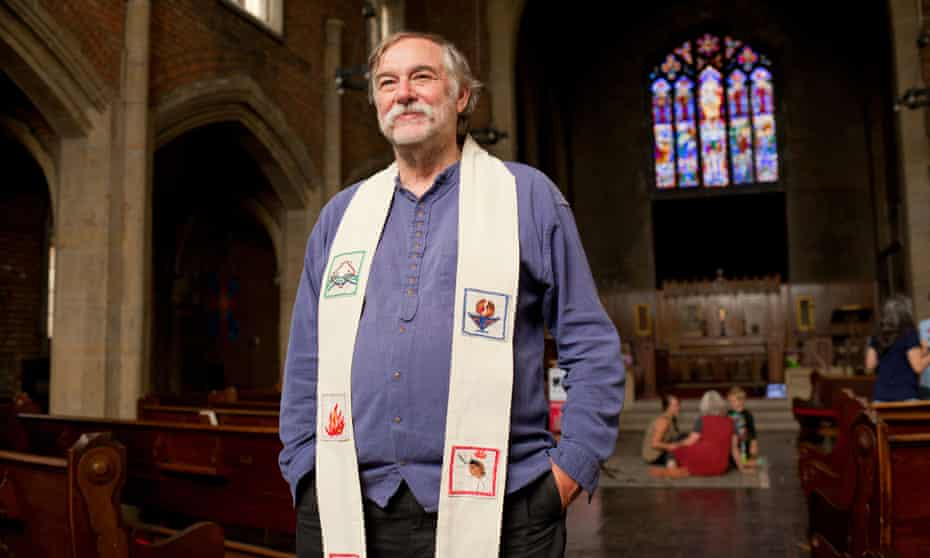Rev Bill Wylie-Kellermann poses after having delivered his final sermon before retiring at St Peter's Episcopal Church.
