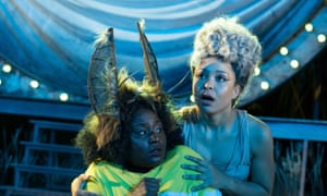 Susan Wokoma as Bottom and Amber James as Titania, in A Midsummer Night's Dream at the Open Air Theatre, Regent's Park, 2019.
