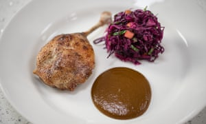 'Dinner, and a very good one': duck confit with a sprightly red cabbage and mango salad from an Elite Bistro kit.