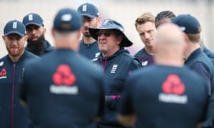 England head coach Trevor Bayliss talks to his players during nets in Southampton on Friday.