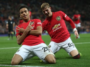 Mason Greenwood of Manchester United celebrates scoring their first goal.