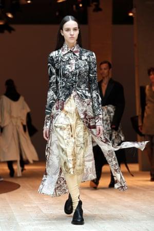 A model at the Céline catwalk at Paris fashion week.