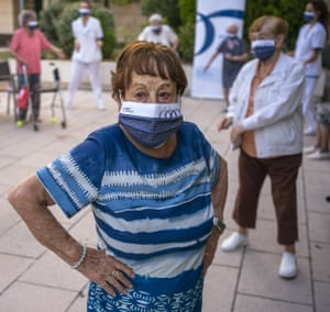 Hipolita, 96, takes part in a dance class at the Orpea Buenavista nursing home in Madrid, Spain. Once almost all of the elderly have been vaccinated, some residences are resuming some of the activities they organised before Covid, but maintaining a safe distance and wearing masks.