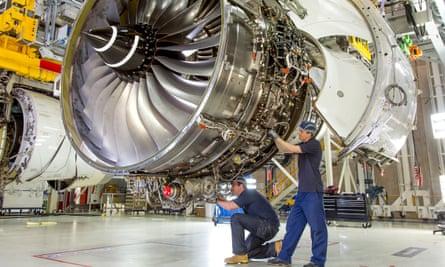 A Rolls-Royce Trent engine under construction.