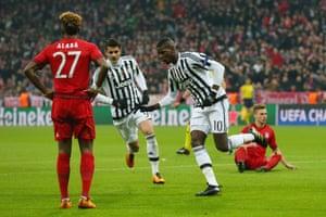 Paul Pogba of Juventus celebrates scoring his team's first goal.