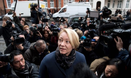 Swedish prosecutor Ingrid Isgren arrives at the Ecuadorian embassy in London to interview WikiLeaks founder Julian Assange.