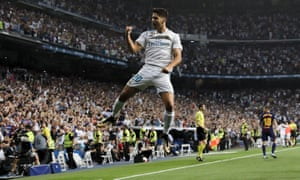 Real Madrid's Marco Asensio celebrates after his superb goal against Barcelona in the second leg of the Spanish Super Cup.