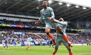 Ruben Loftus-Cheek of Chelsea celebrates with Olivier Giroud after scoring the winner.