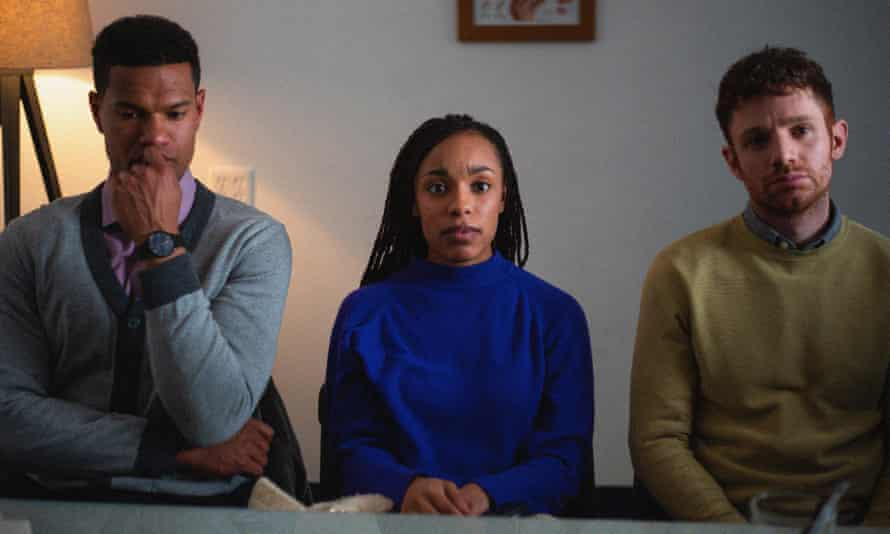 (from left) Sullivan Jones, Jasmine Batchelor and Chris Perfetti in The Surrogate.