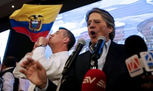 Ecuadorean presidential candidate Guillermo Lasso speaks to supporters in a hotel in Guayaquil.